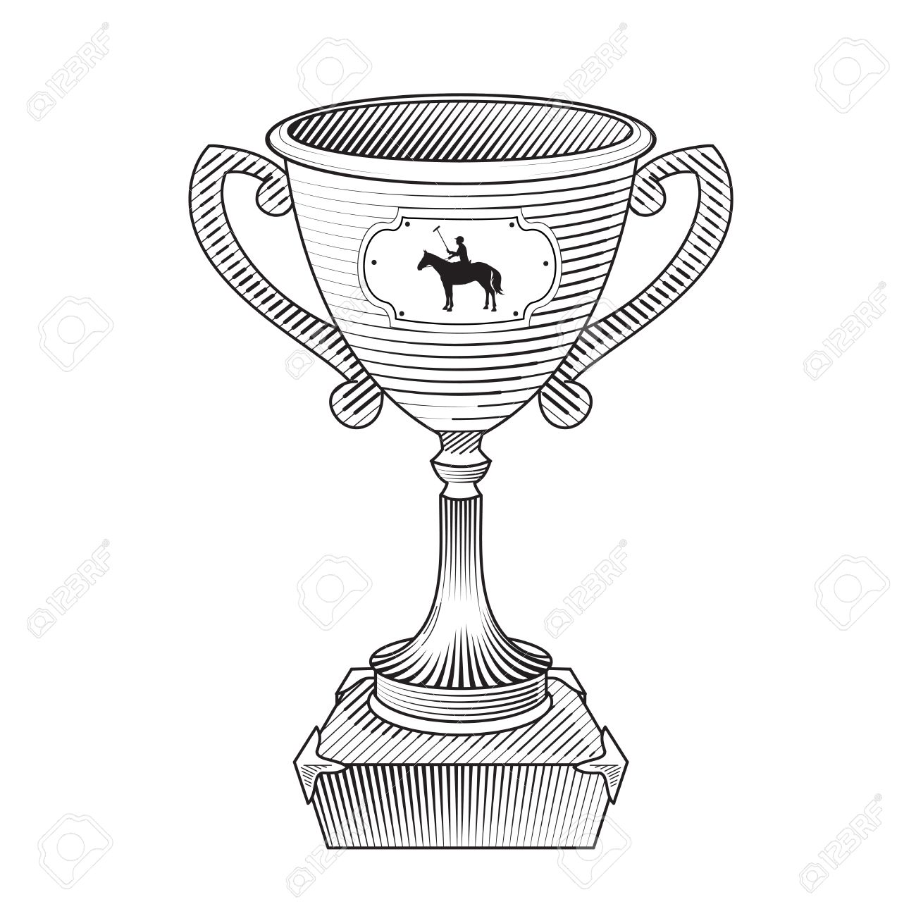 1300x1300 Metallic Trophy Cup With Horse Polo Player. Champions Cup Icon
