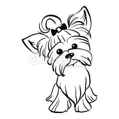 416x416 Sketch Funny Dog Yorkshire Terrier Breed Sitting Hand Drawing
