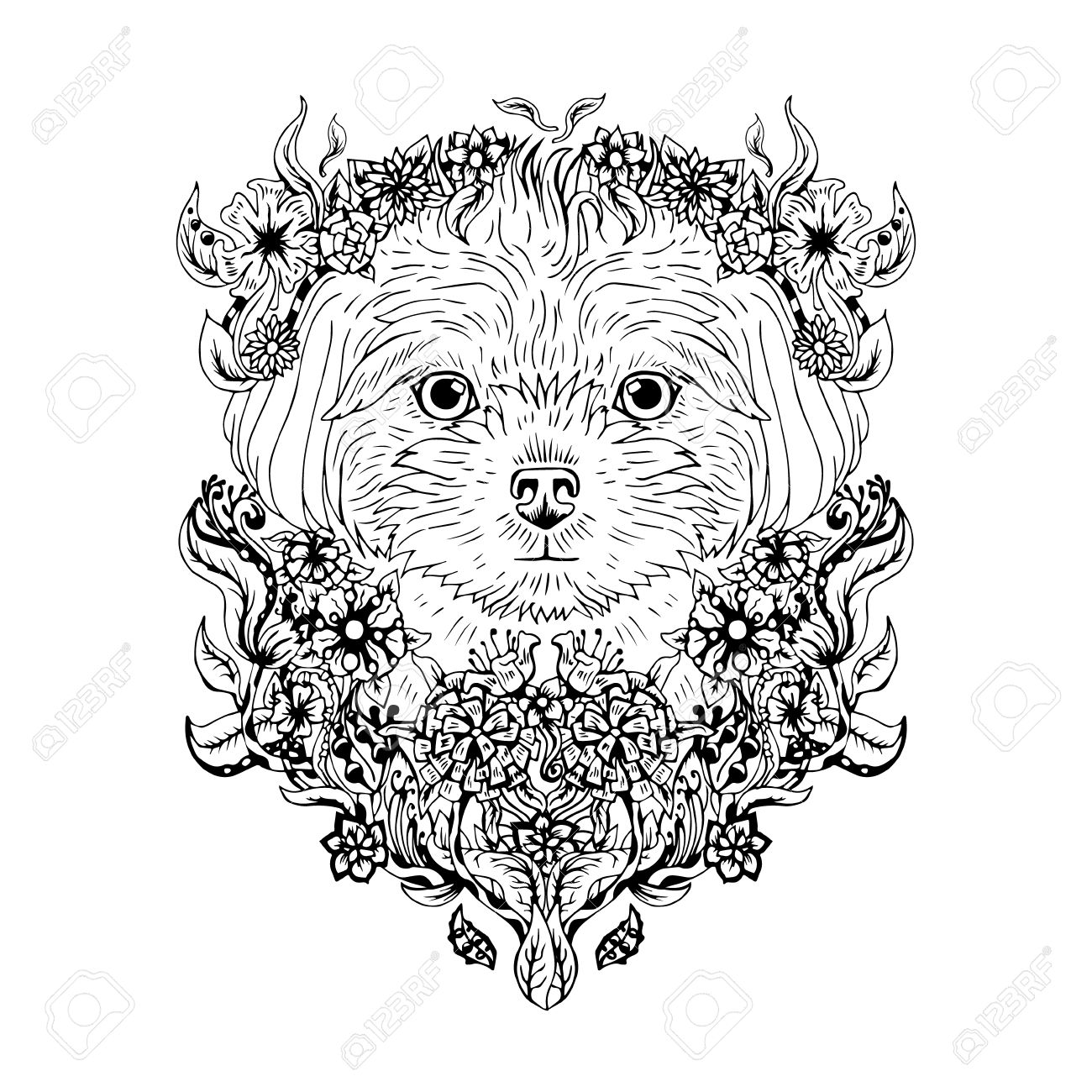 1300x1300 Black And White Animal Dog Head, Abstract Art, Tattoo, Doodle