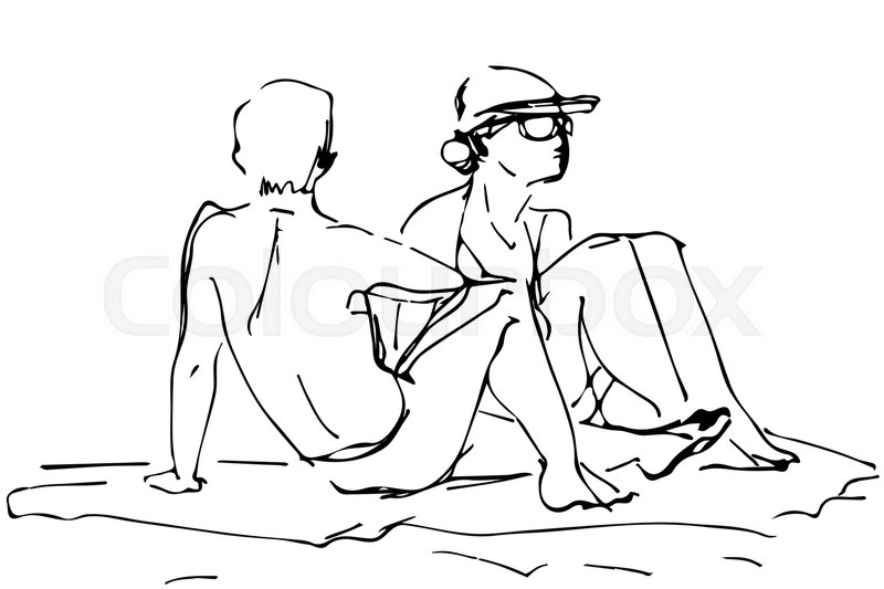 800x533 Black and white vector sketch of a young man next to the woman on