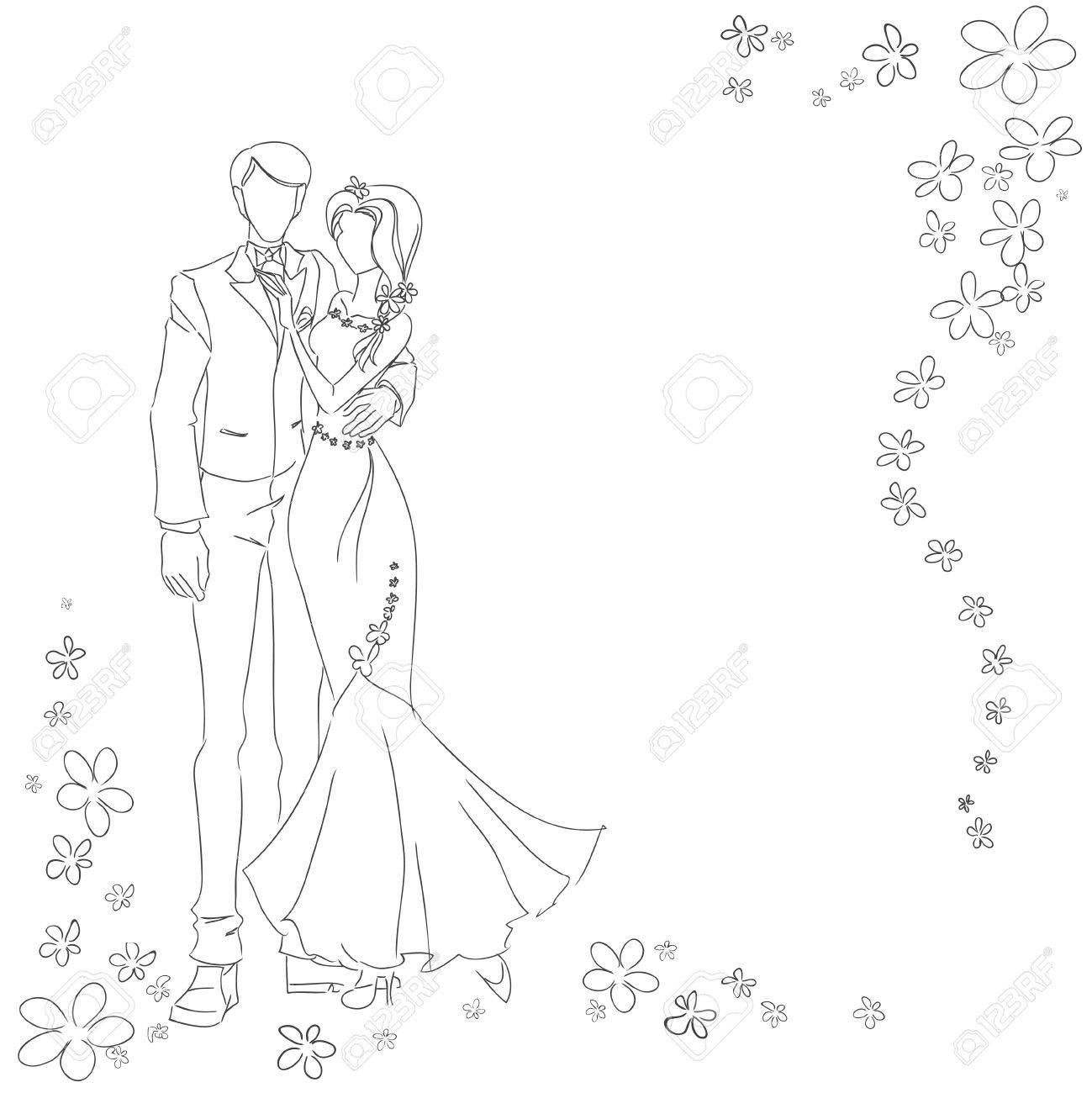1299x1300 Man And Woman Drawing By Lines. Monochrome Vector Image. Themes
