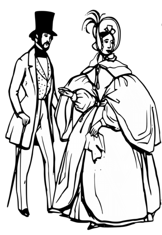 332x480 Man and Woman in Victorian Era coloring page Free Printable