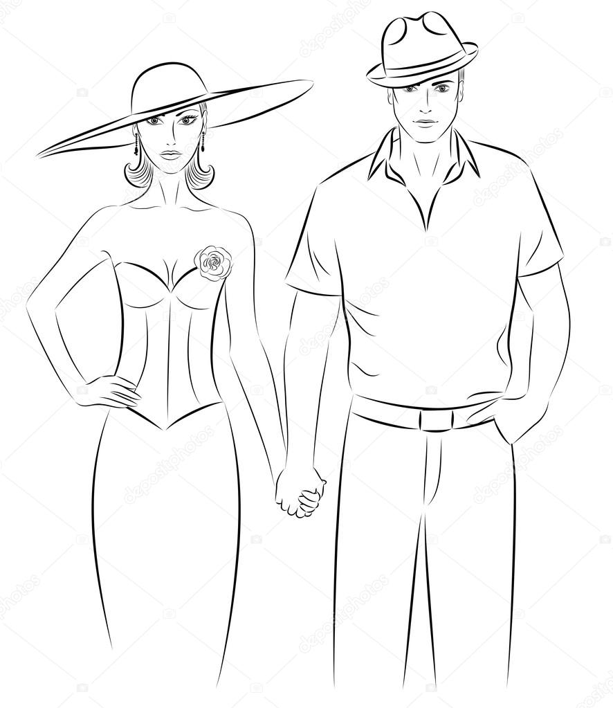 886x1023 Outline of a woman and a man in a a hat, holding hands. — Stock