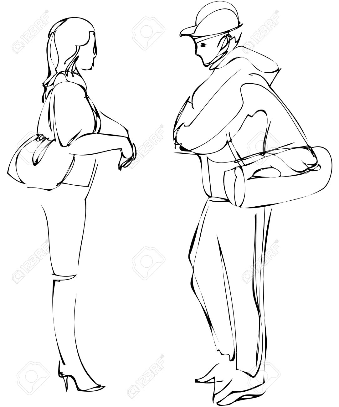1083x1300 A Sketch Of Boy And Girl Talking While Standing Royalty Free