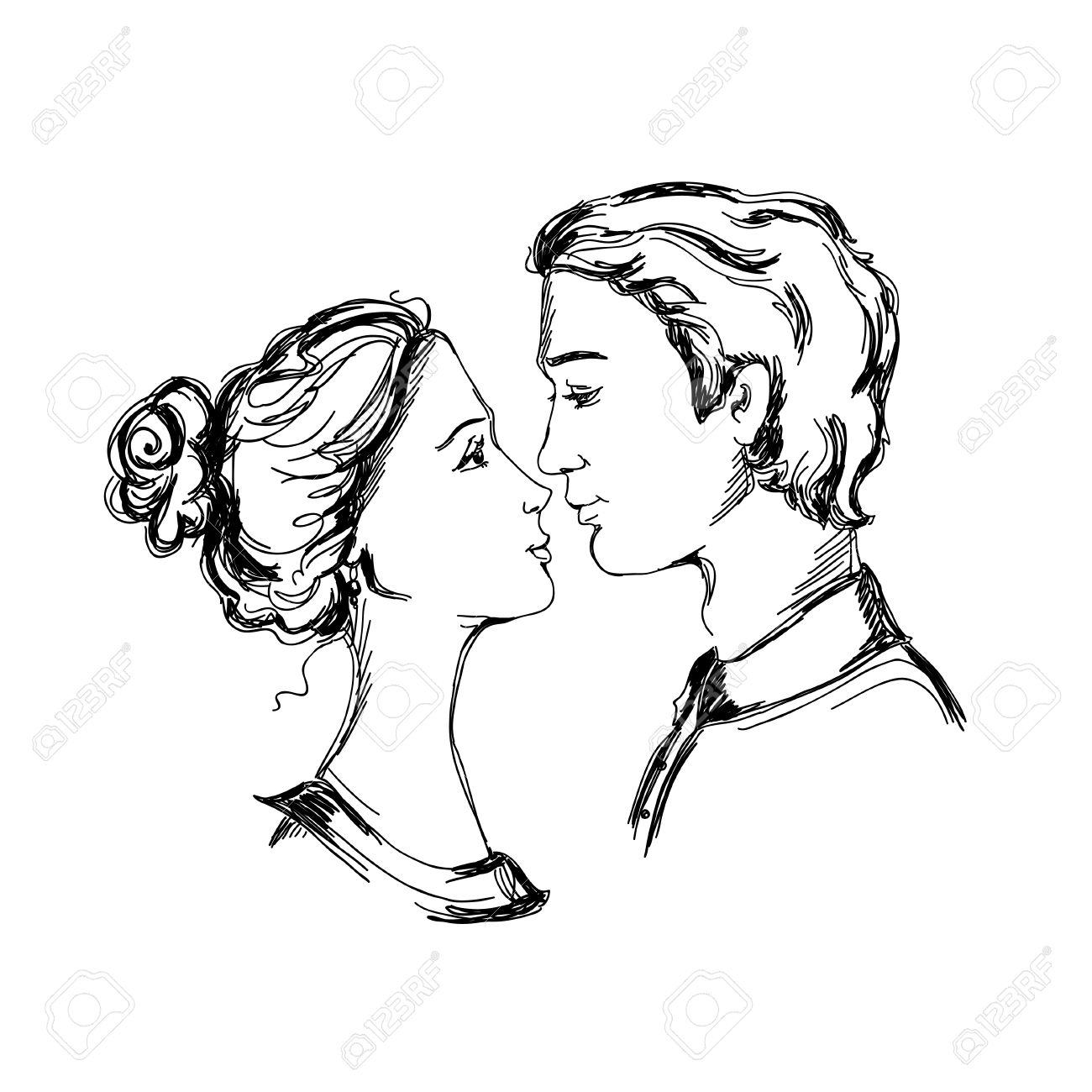 1300x1300 Sketch Of Loving Couple Man And Woman Are Looking At Each Other