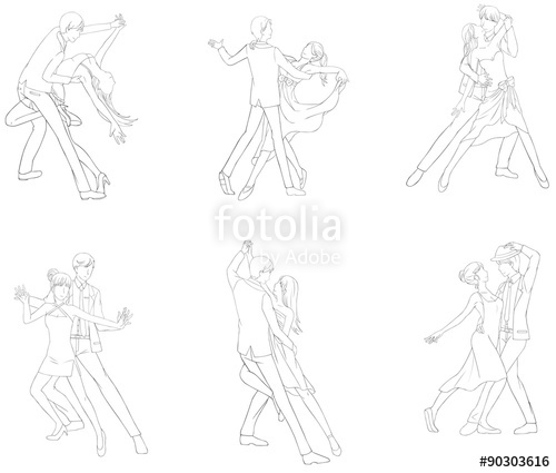 500x425 A cartoon drawing icon of dancing couple sport for both man and