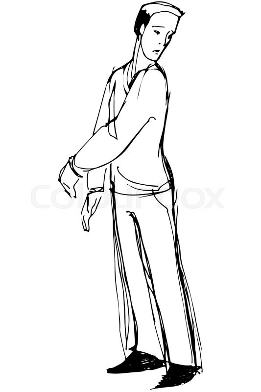 533x800 Black And White Vector Sketch Of A Man Looking Back Over His