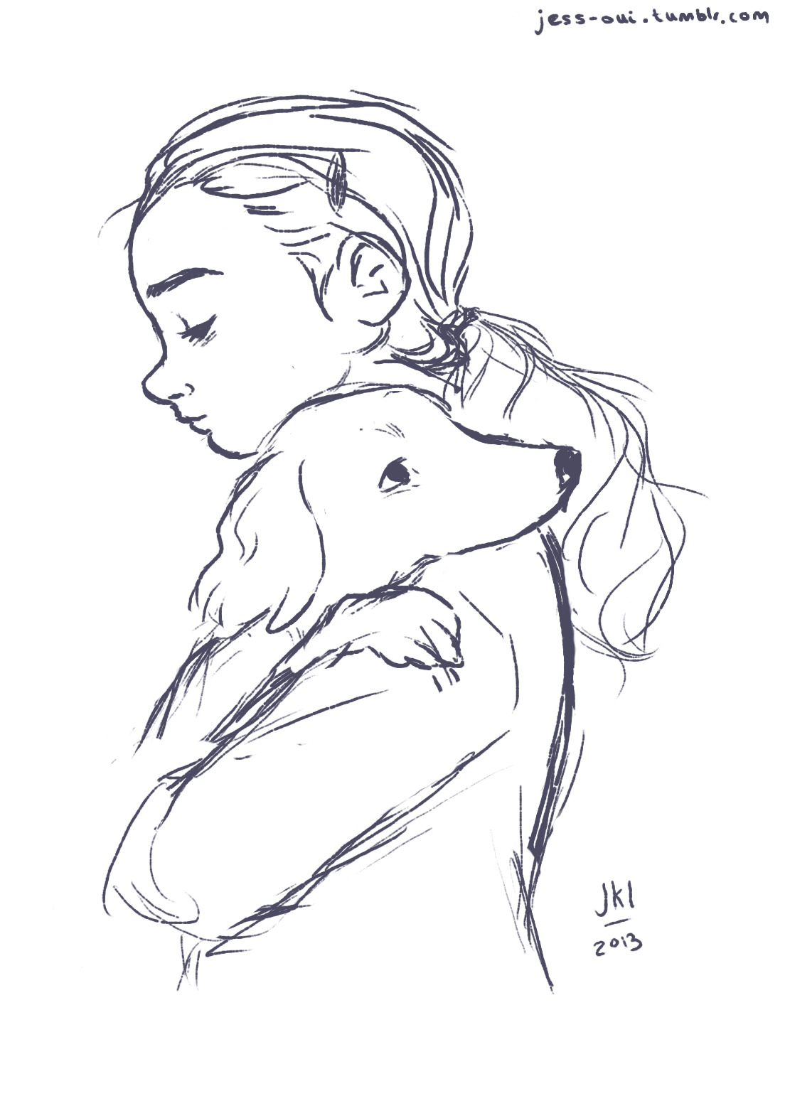 1111x1542 when in doubt, just draw — WIP sketch of a young girl hugging her