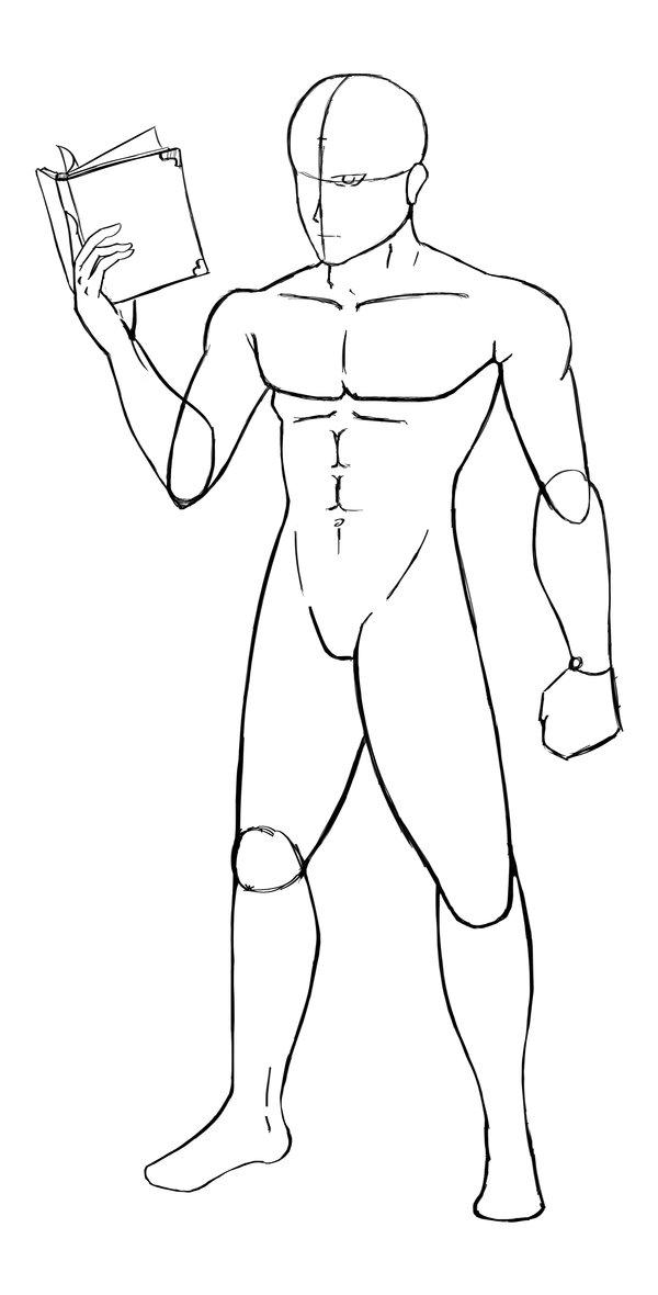 600x1180 Man Body Sketch By Feliperuby