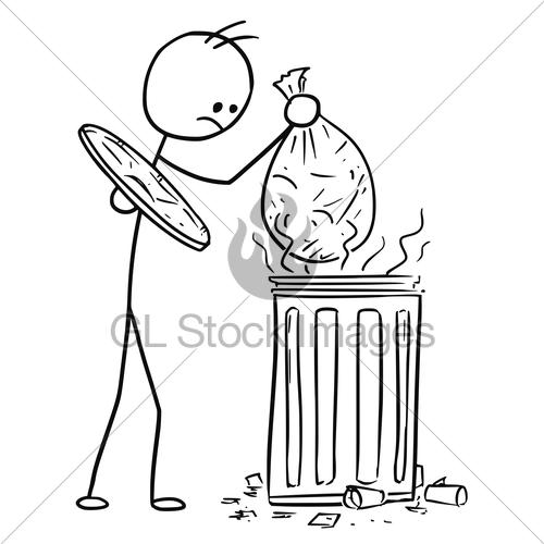 500x500 Vector Stick Man Cartoon Of Men Throwing Waste Trash Bag Gl