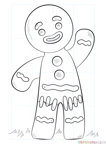 424x575 How To Draw A Gingerbread Man Step By Step Drawing Tutorials