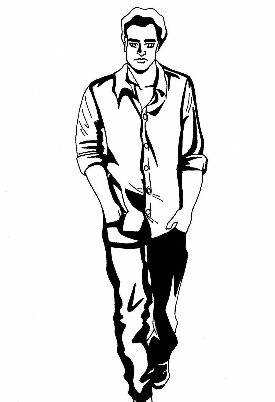 900x1316 Drawing Of A Man Walking Images For Man Walking Away Drawing