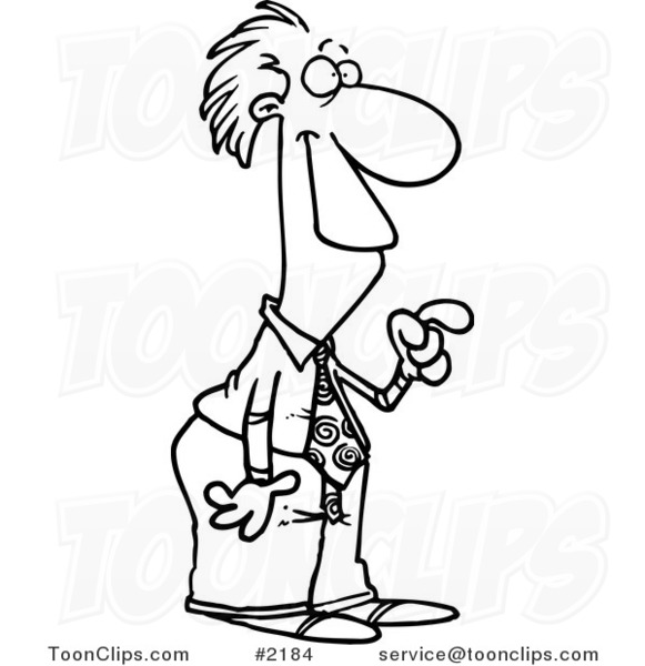 581x600 Cartoon Black and White Line Drawing of a Business Man Pointing
