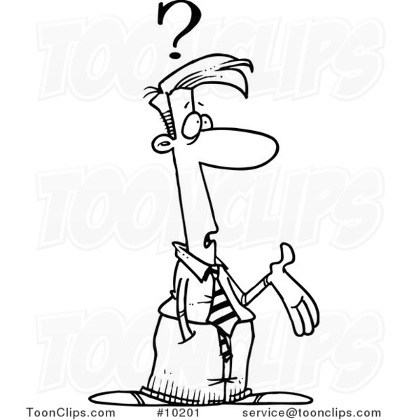 581x600 Cartoon Black And White Line Drawing Of A Confused Business Man