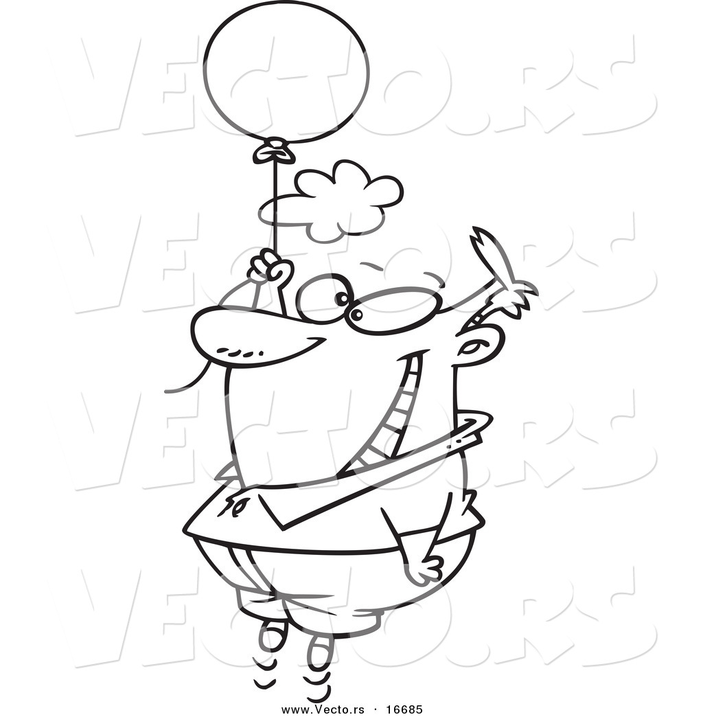 1024x1044 Vector of a Cartoon Happy Man Floating with a Balloon