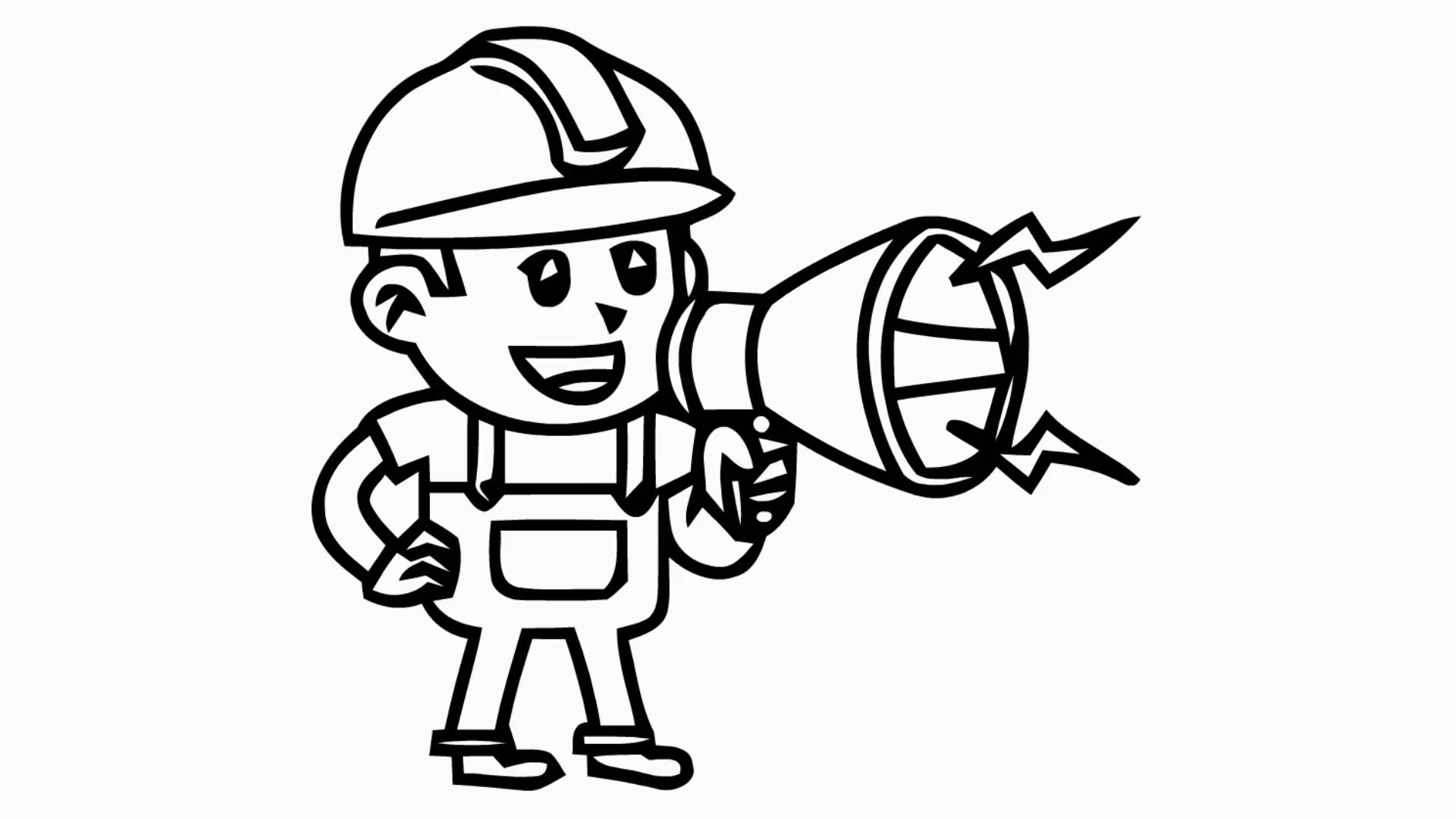 1920x1080 Man With Microphone Cartoon Illustration Hand Drawn Animation
