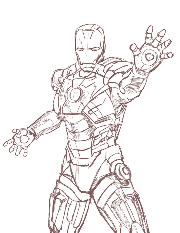 624x809 How To Draw Iron Man Full Body Step By Step Easy For Kids