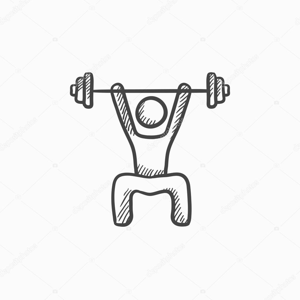 1024x1024 Man Exercising With Barbell Sketch Icon. Stock Vector Rastudio