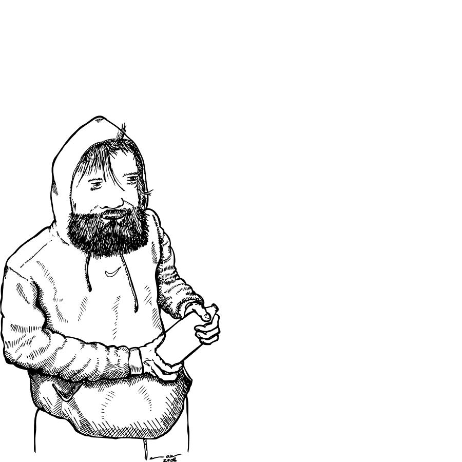 900x900 Homeless Man Drawing By Karl Addison