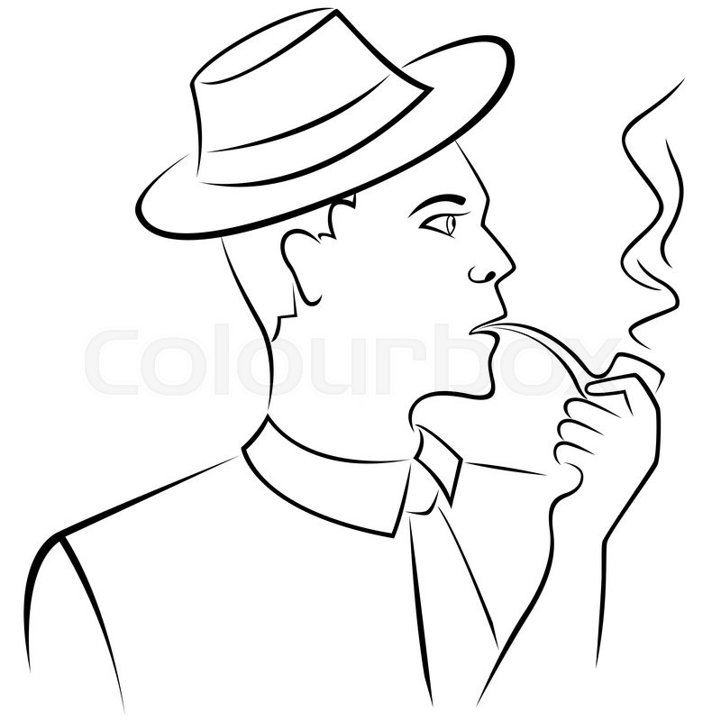 800x800 Man In Retro Hat Smoking A Pipe, Hand Drawing Vector Outline