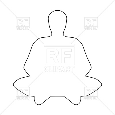 400x400 Meditation Man Outline On White Background Royalty Free Vector