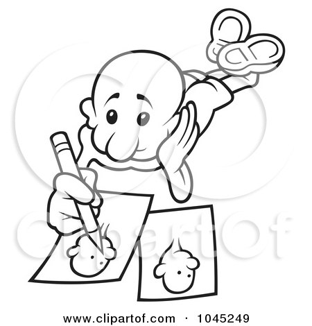 450x470 Royalty Free (Rf) Clip Art Illustration Of A Black And White