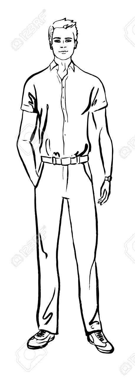 458x1300 Fashion Illustration Of Man. Ink Outline Sketch Isolated On White