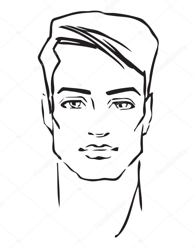 802x1024 Man Face. Hand Drawn Fashion Model Stock Vector Dahabians