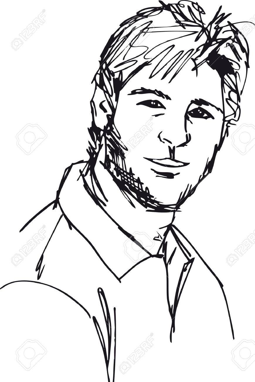 870x1300 Sketch Of Fashion Handsome Man. Vector Illustration Royalty Free