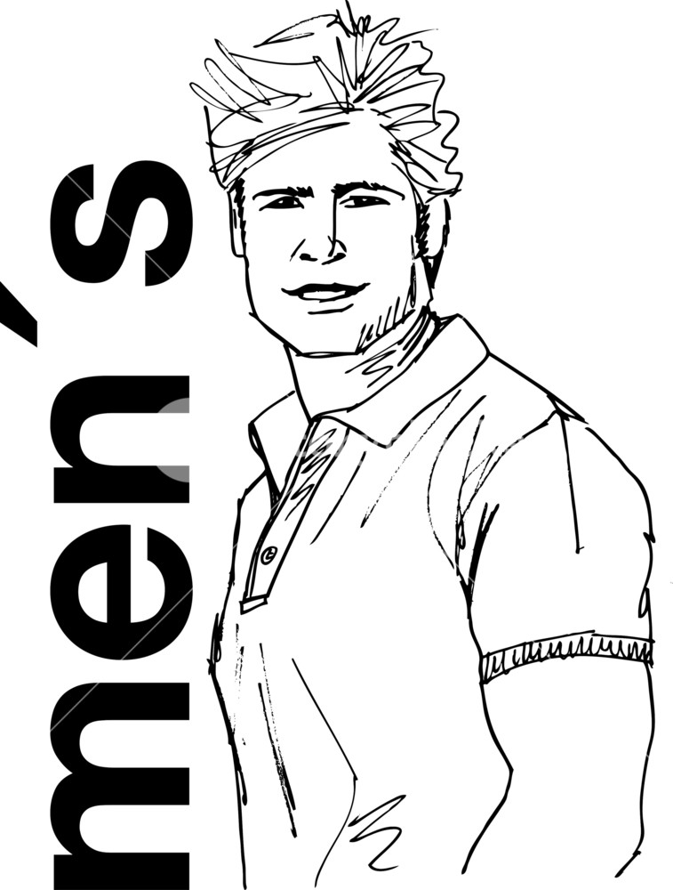 757x1000 Sketch Of Handsome Man Face. Vector Illustration Royalty Free