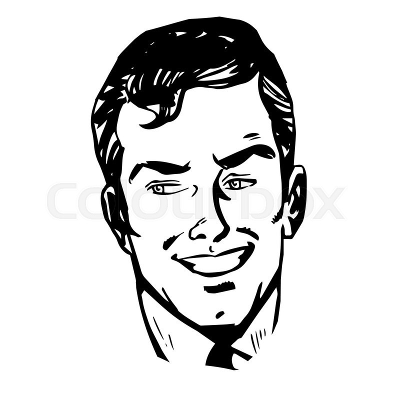 800x800 Smiling Man Face Retro Line Art Graphics Stock Vector Colourbox