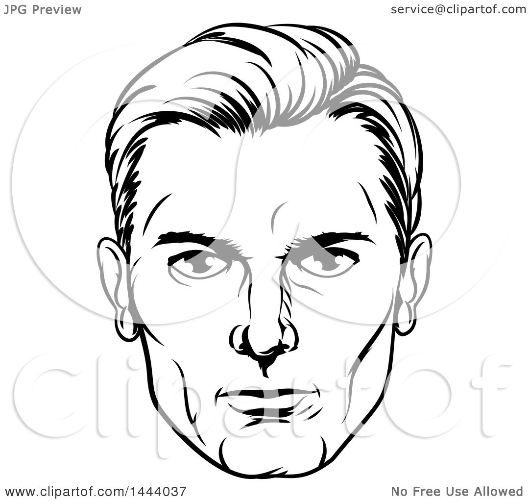 1080x1024 Clipart Of A Comic Styled Black And White Man's Face