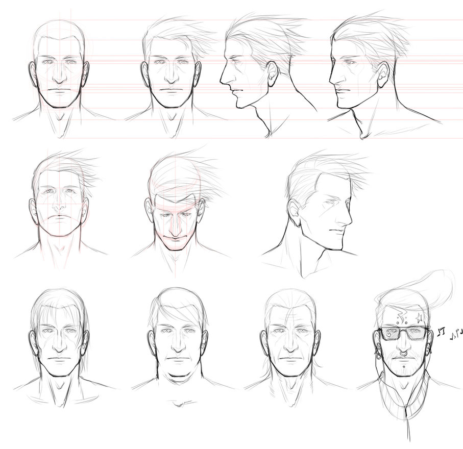 907x880 Male Face Study By Angelus Tenebrae