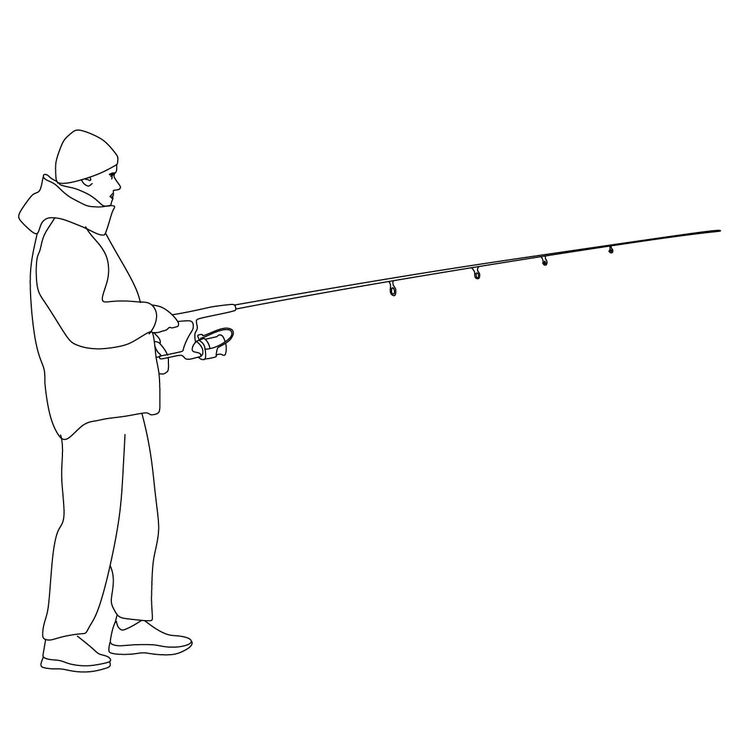 Man Fishing Drawing