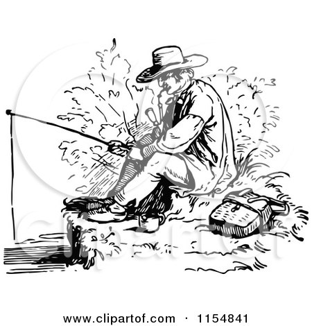 450x470 Clipart Of A Retro Vintage Black White Man Smoking A Pipe