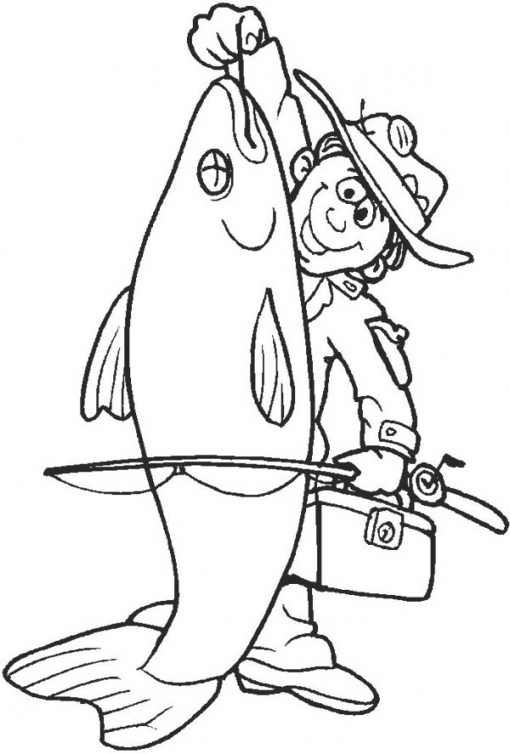 510x754 Fisherman Catch Big Fish Coloring Page Coloring Sky Man Fishing