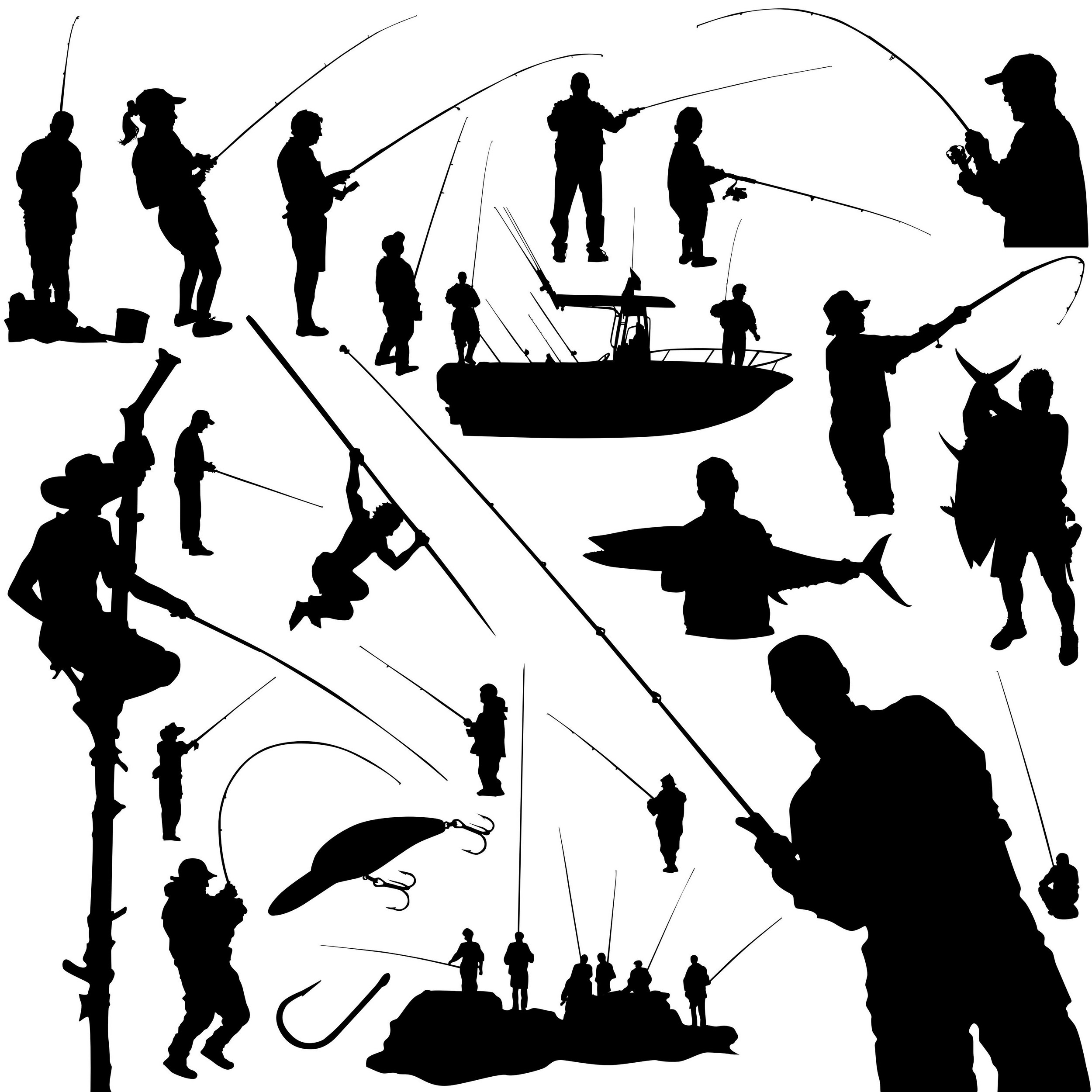 2500x2500 Fisherman Silhouettes [Eps File] Silhouettes Vector