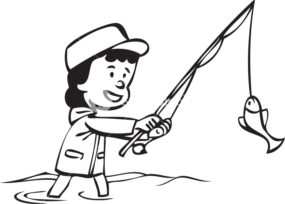 1000x718 Illustration Of A Man With Fishing Pole. Royalty Free Stock Image