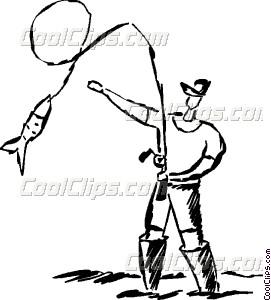 271x300 Man Reeling In Fish Vector Clip Art