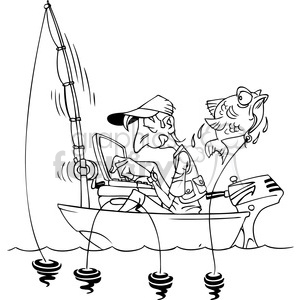 300x300 Royalty Free Black And White Cartoon Man Fishing In A Small Boat