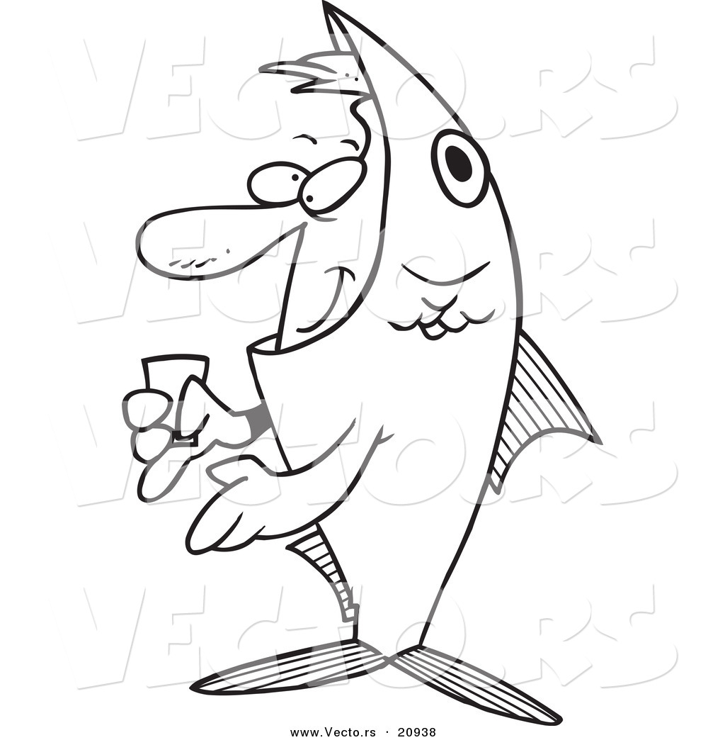 1024x1044 Vector Of A Cartoon Man In A Fish Costume