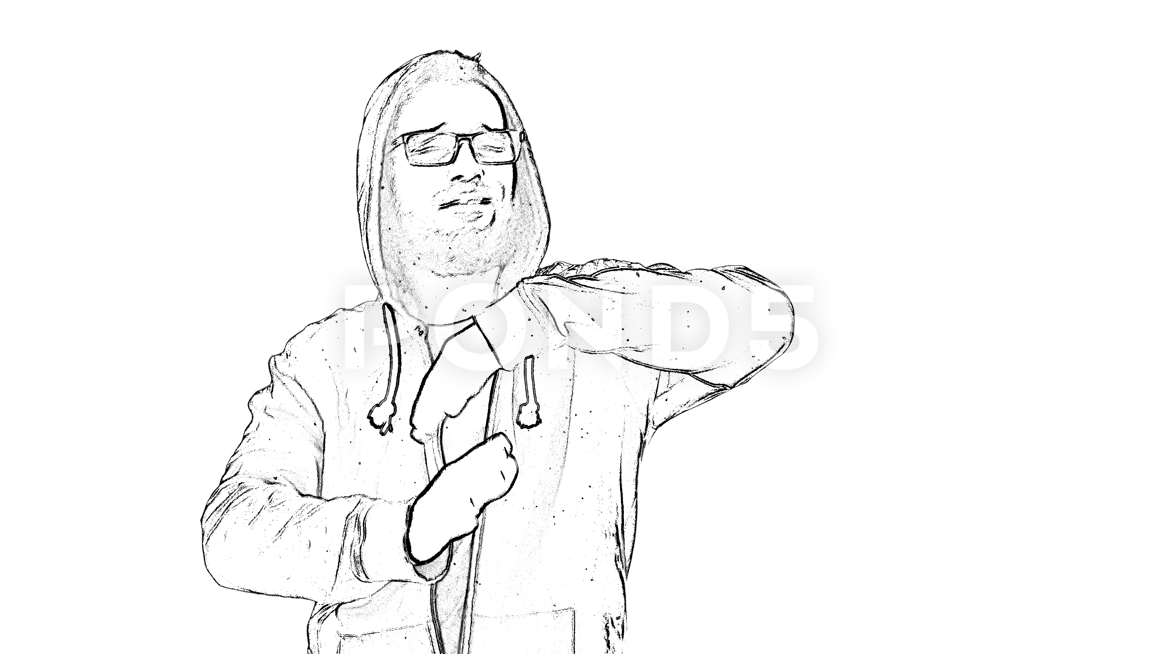 3840x2160 Outlined Self Confident Man In Hoodie Dancing On Trap Hip Hop