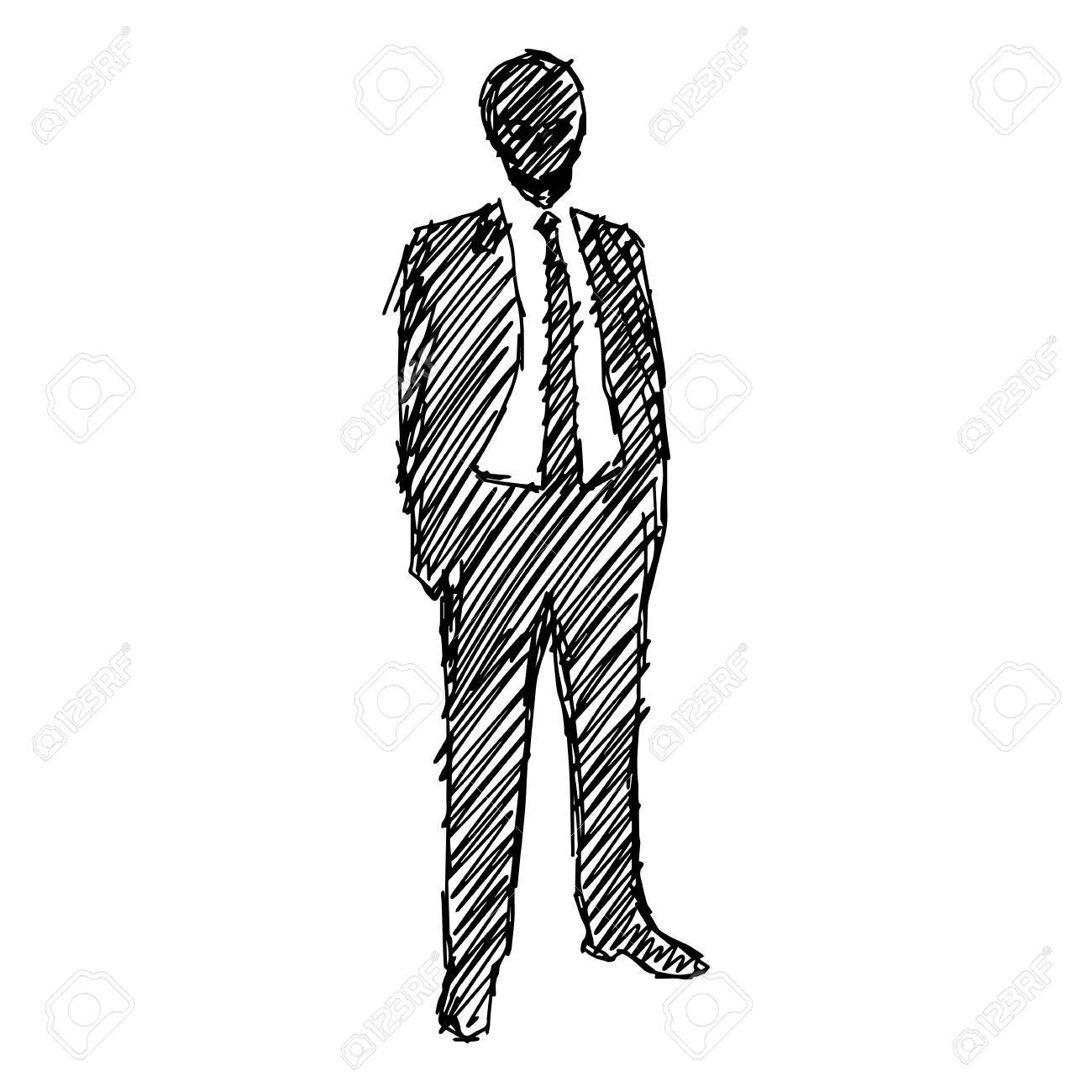 1300x1300 Hand Drawn, Silhouette, Sketch Illustration Of Man In Suit