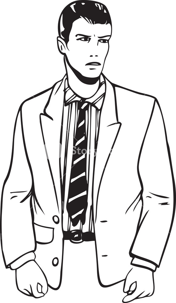 581x1000 Illustration Of A Young Man In Suit. Royalty Free Stock Image