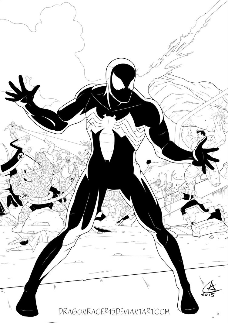 752x1063 Secret Wars Spider Man Black Suit By Dragonracer45