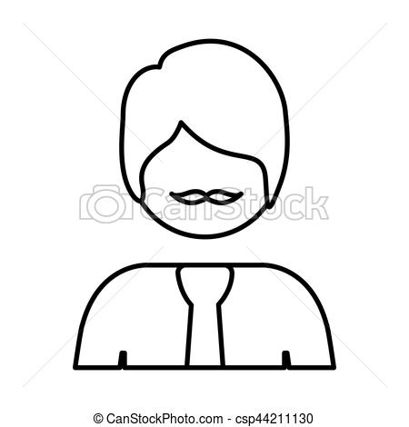 450x470 Silhouette Half Body Man With Formal Suit Vector Vectors