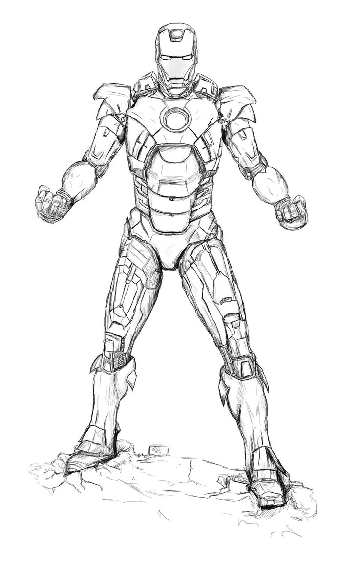 692x1153 Uncoloured Iron Man Mark 7 Suit From Avengers By Billythedalek