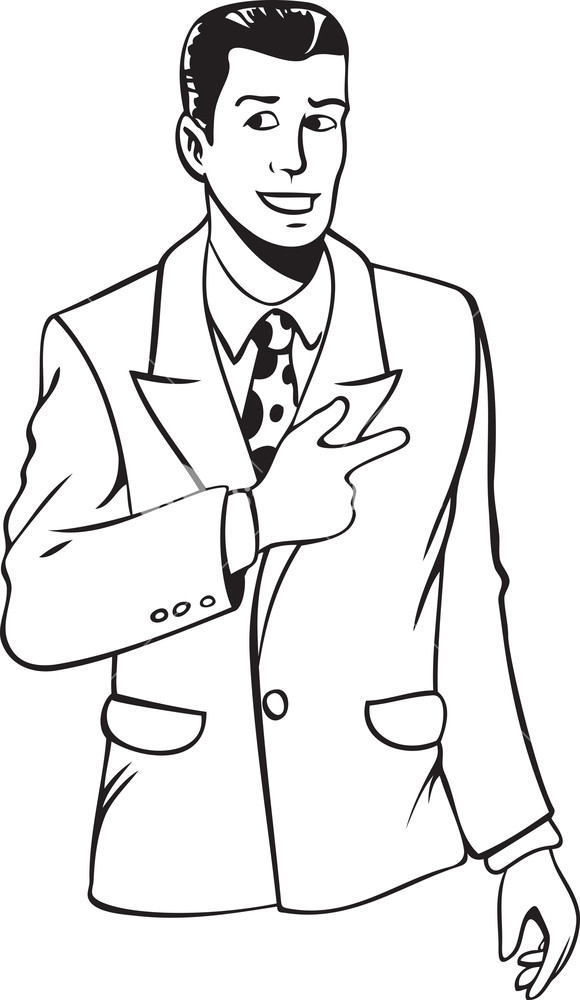 580x1000 Black And White Illustration Of A Young Man In Suit Royalty Free