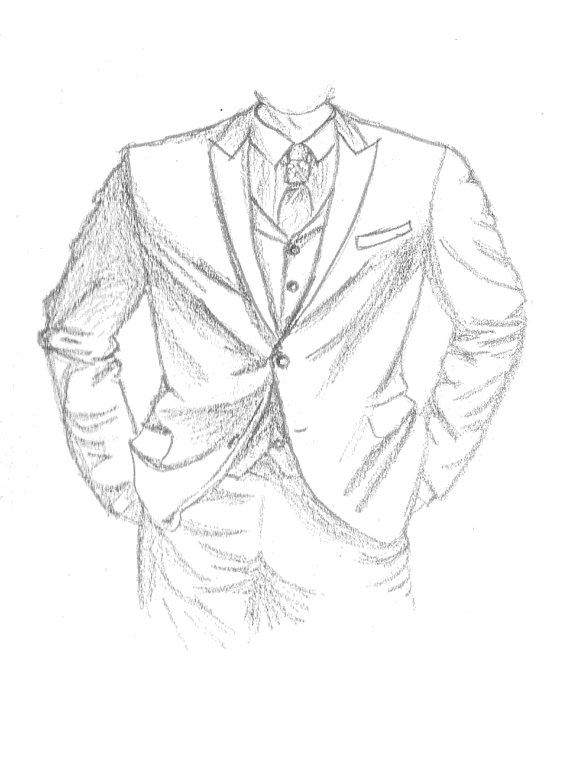 570x759 Items Similar To Tuxedo Sketch Print 5x7 On Etsy