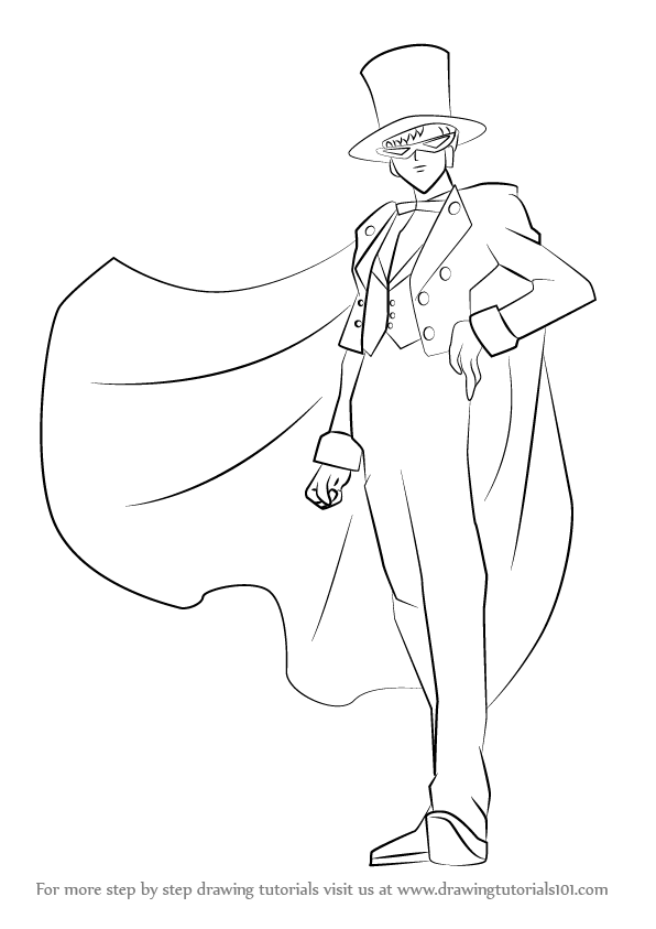 596x843 Learn How To Draw Tuxedo Mask From Sailor Moon (Sailor Moon) Step